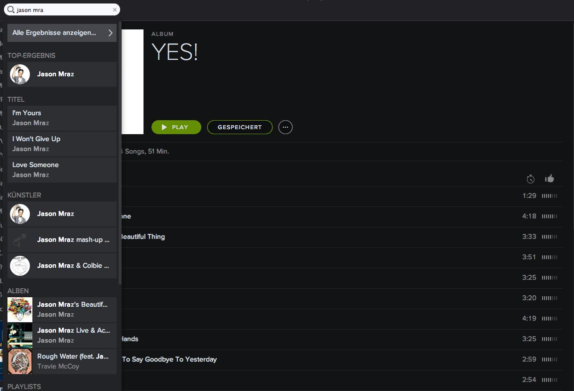 Spotify Suche